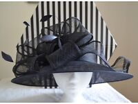 Large Occasion Hat Wedding/Races Navy Blue