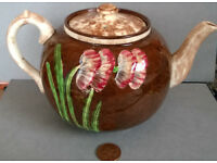 vintage hand painted stoneware teapot