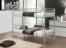 🚚🚛SUPERB SILVER FINISH🚚🚛 BRAND NEW Metal Bunk Bed with Mattress Options - SAME DAY DELIVERY!