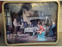 """RETRO TRAY WITH WICKER EDGE - """"THE LANDLORD's BIRTHDAY"""" - UNUSED"""