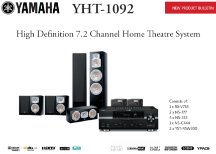 Yamaha YHT-1092 HD 7.2 Channel Home Theatre System + Blu Ray Plyr