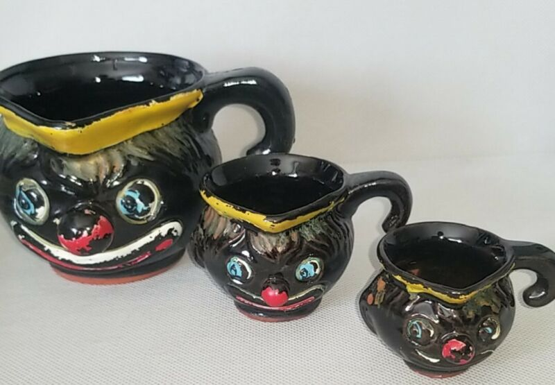 "Vintage ""RARE"" Thames Black American Black Clown Redware 3pc Measuring Cups"