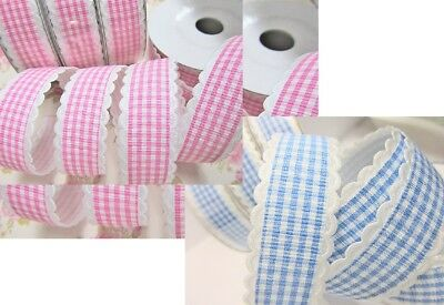 10 yards Fancy Scallop Edge Gingham Check 7/8