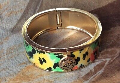 Designer B C B GENERATION Gold-tone Pansy Costume Bangle Bracelet B C Gold Bracelets