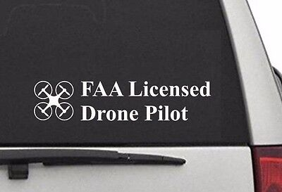 FAA Licensed Drone Airman vinyl decal car sticker UAS Certified Registered WHITE