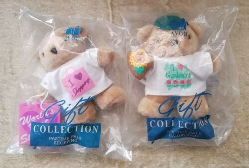 Vintage Collectible AVON Pastime Pals-I Love Shopping-I Love Gardening 2 Bears - $11.49