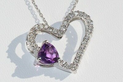 Open Heart Tilted Diamond Pendant with Violet Purple Stone 14 Karat White Gold