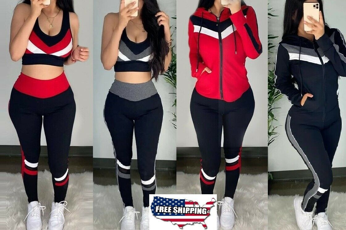 3Pcs Set Women Sweatsuit Tracksuit Jacket Hoodie Sport Top Jogger Pants Gym Suit