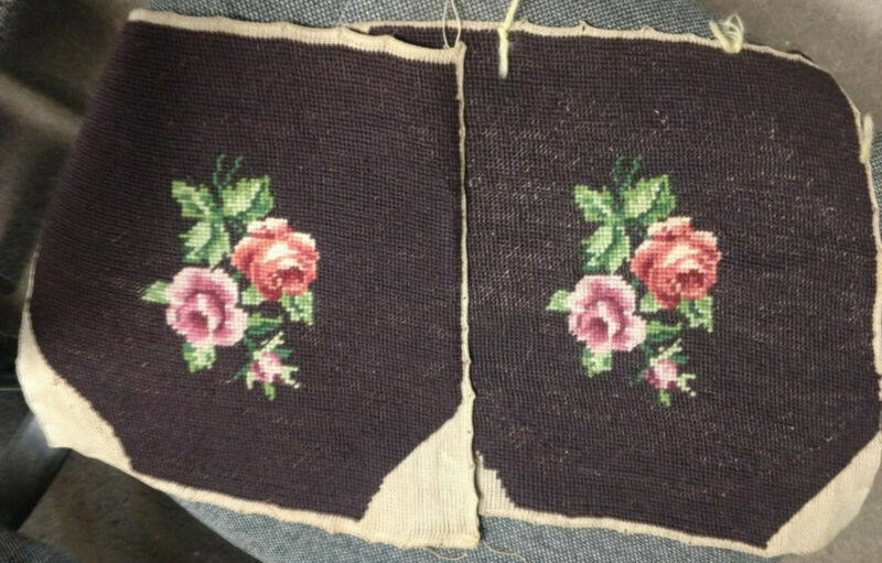 Finished Vintage wool needlepoint seat/chair/pillow Pink Peachy Roses Floral