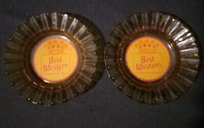 Pair of Amber Glass BEST WESTERN Ashtrays Vintage Advertising