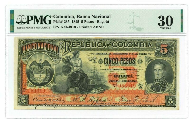 1895 Colombia PMG VF30 5 Pesos Banknote
