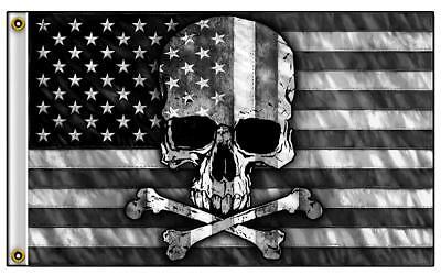 AMERICAN BLACK & WHITE USA SKULL CROSS BONES  3 X 5  BIKER DELUXE FLAG #775 NEW