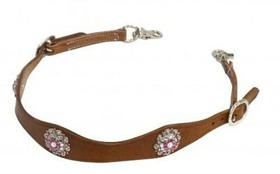 Showman MEDIUM OIL Leather Wither Strap PINK Conchos! NEW HORSE TACK!