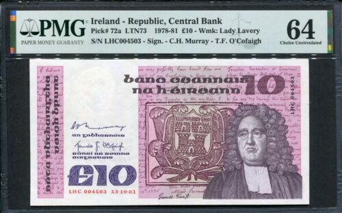 Ireland Republic 1981, 10 Pounds, P72a, PMG 64 UNC