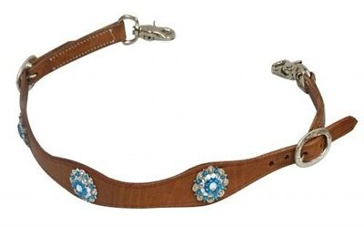 Showman MEDIUM OIL Leather Wither Strap BLUE Conchos! NEW HORSE TACK!
