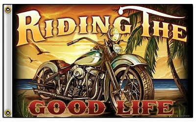 RIDING THE GOOD LIFE BIKER 3 X 5 MOTORCYCLE BIKER DELUXE FLAG #772 NEW sunset