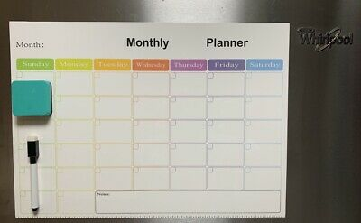 16.5 X 12 Magnetic Refrigerator Calendar White Dry Erase Board Monthly Planner