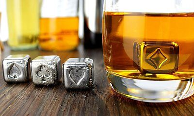 Kollea Stainless Steel Chilling Reusable Ice Cubes for Whiskey Wine, Pack of 8