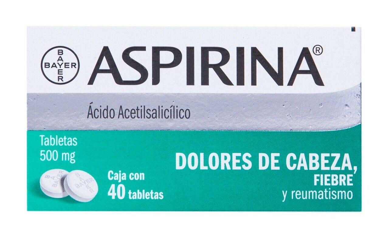 Aspirina / Aspirin 500 mg - 40 tablets Dolor Cabeza Fiebre Reumatismo