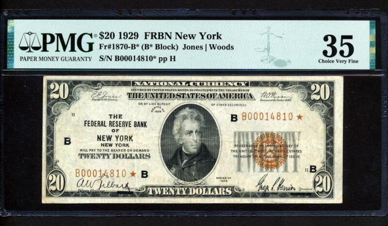 "Fr.1870-B* 1929 $20 NEW YORK  FRBN ""STAR"" NATIONAL CURRENCY PMG 35 CHOICE VF"