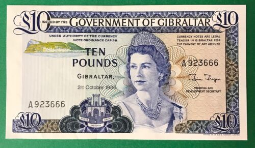 GOVERMENT of GIBRALTAR  10 Pounds  1986  P-22b  UNC Banknote