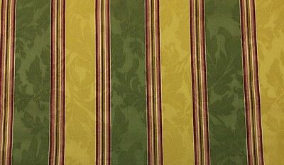 WAVERLY CAPULET STRIPE SAGE GOLD #D4016 EMBOSSED JACQUARD FABRIC BY YARD 54