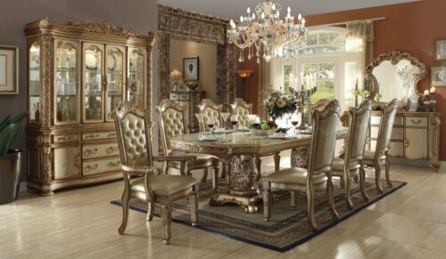 Acme Vendome Dining Table W/double Pedestal In Gold Patina And Bone 9pc Set