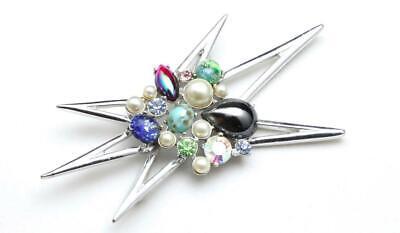 Vintage Emmons Mid Century Modern Starburst Pin Brooch Borealis MCM Signed