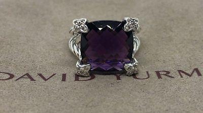 David Yurman Sterling Silver 925 Amethyst Diamonds Cushion On Point Ring 15 6.25