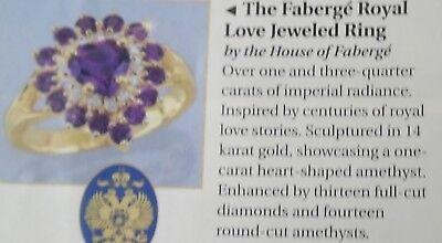 NEW 1989 14K RING 13 DIAMOND 14 AMETHYST + 1 CARAT 6.5 COA FRANKLIN MINT FABERGE for sale  Anniston