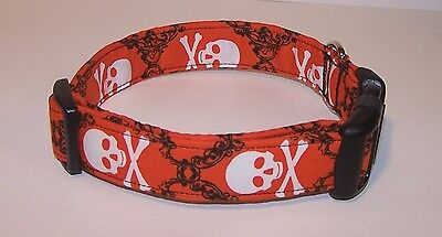 Wet Nose Designs Goth Skull & Crossbones Dog Collar Skulls Halloween Orange  (Halloween Skulls Designs)