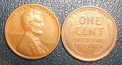 "One 1931-P Lincoln Wheat Cent  ""VG-F"""