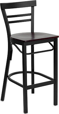 Black Ladder Back Metal Restaurant Bar Stool With Mahogany Wood Seat