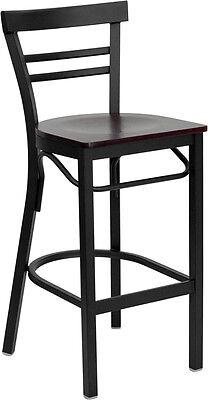 Black Ladder Back Metal Restaurant Bar Stool With Mahogany Wood Seat