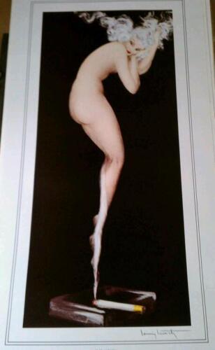 Louis Icart Illusions 1974 27x 14 Print Art Vintage Artwork nude smoke