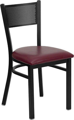 Metal Perforated Back Restaurant Chair With Burgundy Vinyl Seat