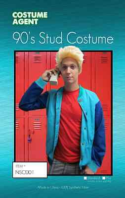 Zack Morris Halloween Costume Saved by the Bell Bayside 90's stud Jacket & Wig