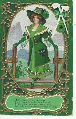 """ANTIQUE ST. PATRICK'S DAY Postcard  """"THE MAID THAT'S A-COMING THROUGH THE STYLE"""""""