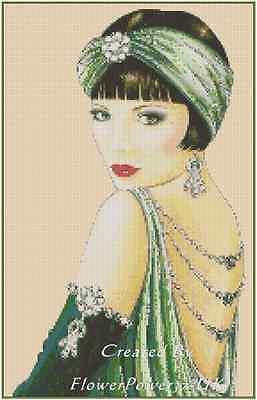 Art Déco Flapper Lady Grün Kleid Gezählter Kreuzstich Komplettsatz Nr. 1-1