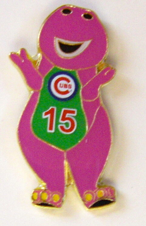 CHICAGO CUBS PURPLE BARNEY #15 FUN PIN 100% OF SALE TO ALZHEIMER RESEARCH  NEW