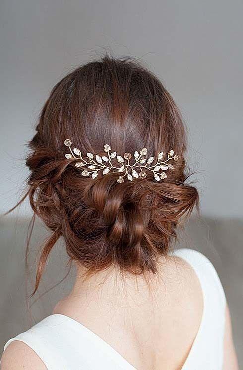 Bridal Champagne Crystals Rhinestones Hair Vine Comb Pin Bridal Headpiece