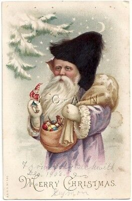 Org Vintage 1906-15 PC- Purple Santa Claus with Real Hair Fur Hat- Dated 1908