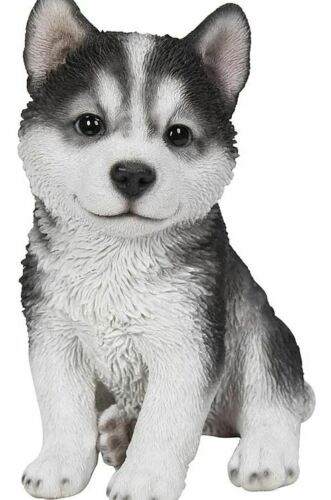 "6.9"" SIT UP SIBERIAN HUSKY PUPPY FIGURINE LIFELIKE ANIMAL HOME AND GARDEN DECOR"