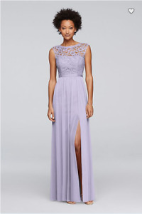 David's Bridal Lilac Bridesmaid Dress with Lace Bodice