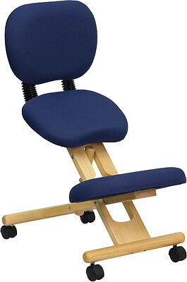 Wooden Ergonomic Kneeling Chair With Reclining Back New