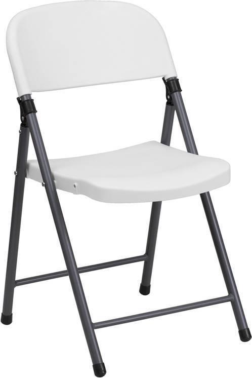 很多200 330 LB. CAPACITY白色塑料折叠椅,带有框架框架