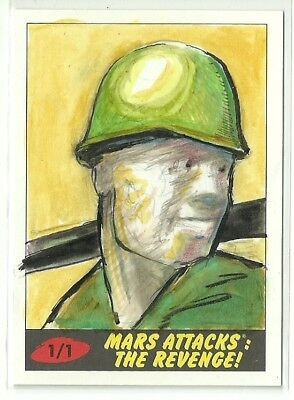 2017 Topps Mars Attacks The Revenge ! Soldier Sketch Card by John Brewer