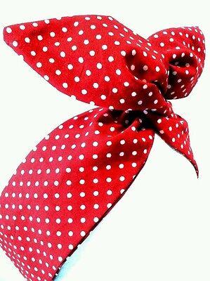 arband Rot&Weiss  Polka Dot Bandana Headband Retro Draht (Rot Polka Dot Bandana)