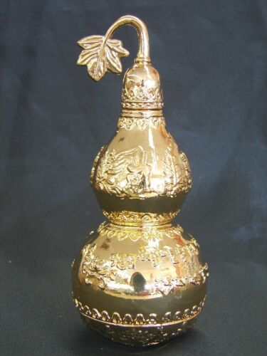 """5.5"""" Feng Shui Brass Wu Lou Carved with Chinese Herbs"""