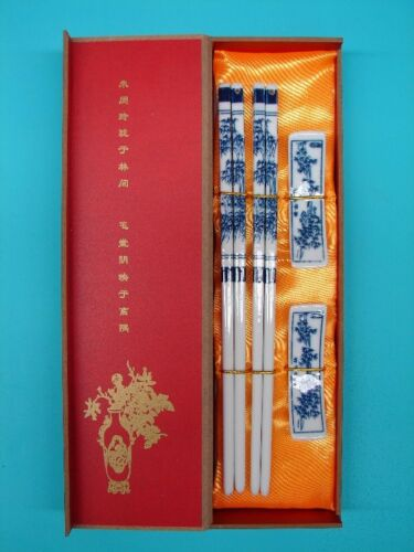 Gift Set of Chinese Blue Porcelain Chopsticks with Bamboo Pictures